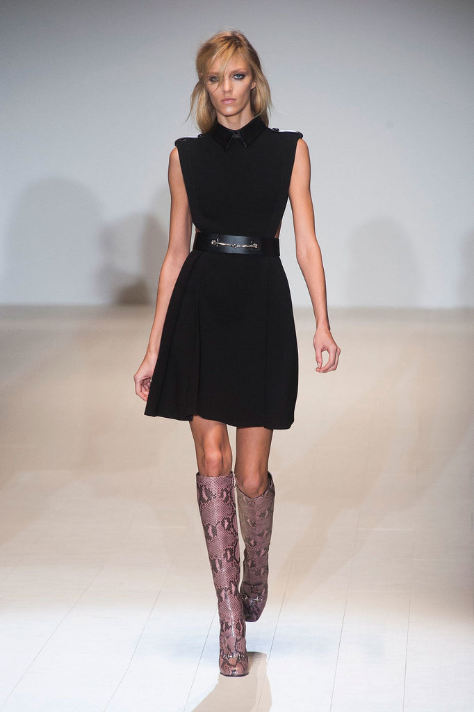 Gucci Leather Detail Belted Crepe Dress (Runway Collection)