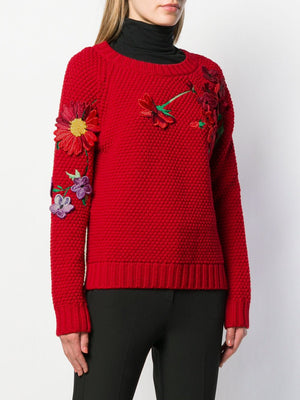 Blumarine Floral-Embroidered Wool Knit Sweater