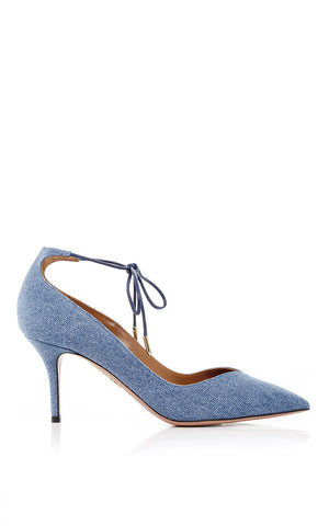 7a878d4ba87 Aquazzura  Allure 75  Denim Pumps with Ankle Tie. £185.00. Gucci Marmont  Fringed Metallic Cracked-Leather Loafers