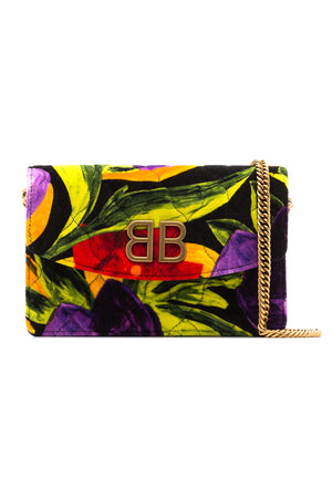 Balenciaga BB Chain Quilted Printed Velvet Shoulder Bag