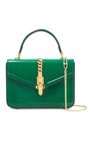 Gucci Sylvie 1969 Mini Chain-Embellished Patent-Leather Tote - Current Season
