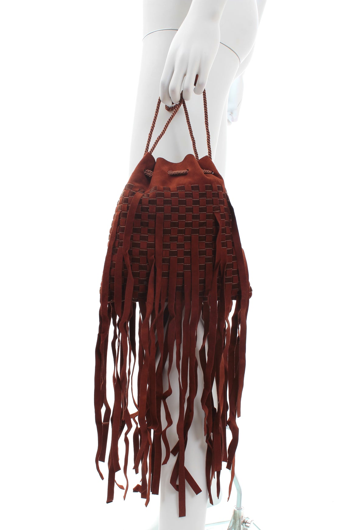 Bottega Veneta Fringed Woven Suede Bucket Bag