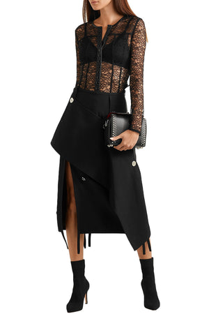 Alexander Wang Leather-Trimmed Stretch-Lace Blouse