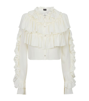 Magda Butrym Girona Crystal-Button Silk Ruffled Blouse