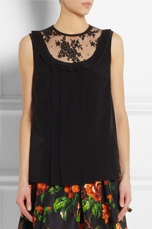 Miu Miu Lace-Trimmed Silk Top