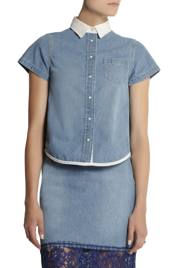 Sacai Luck Contrast-Collar Denim Shirt