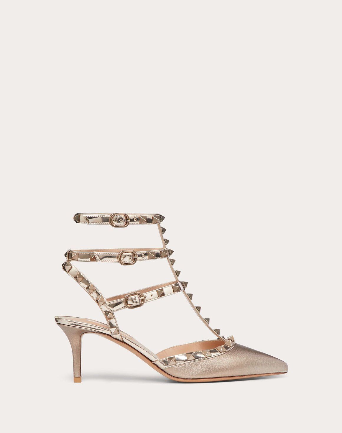 Valentino Rockstud Metallic Leather Ankle Strap 65 Pumps