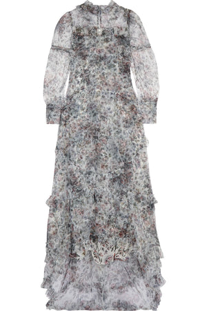 Erdem 'Stacey' Ruffled Floral-Print Tulle Gown