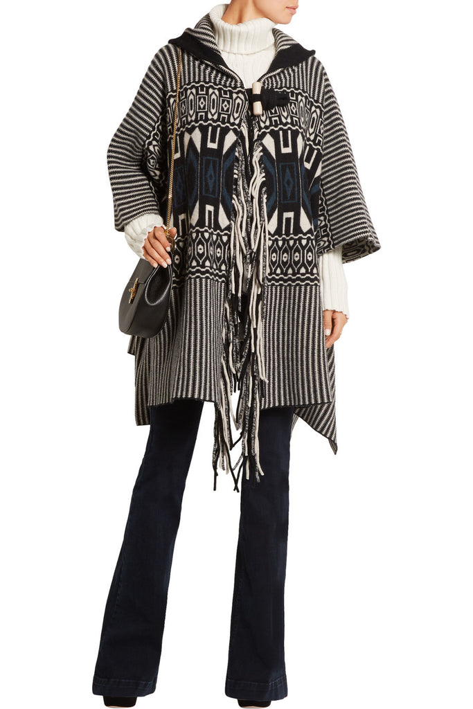 Chloe Wool-Cashmere Blend Geometric Cape, Jumpers & Cardigans, Chloe, Closet Upgrade - Closet-Upgrade