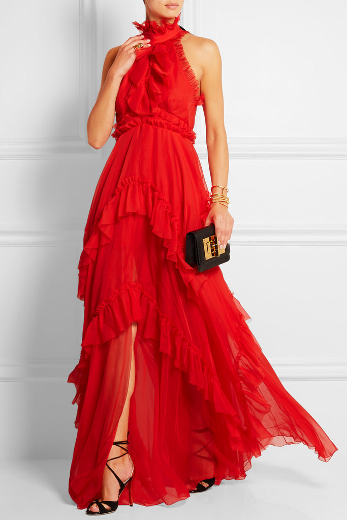 Emilio Pucci Ruffled Tiered Silk-Chiffon Gown