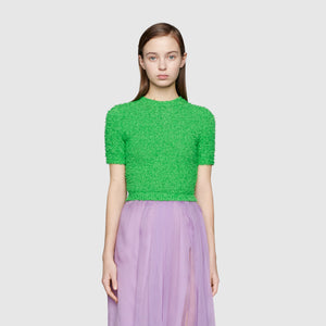 Gucci Cotton Bouclé Knit Top - Current Season Spring Summer 2020 Runway Collection