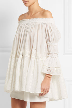 Chloe Off-the-shoulder Broderie Anglaise Cotton-Voile Top