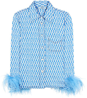 Prada Ostrich Feather Trimmed Cotton Printed Shirt (Runway Collection)