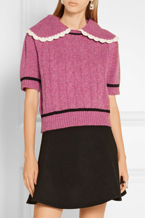 Miu Miu Crochet-Trimmed Cable Knit Wool Sweater - Runway Collection