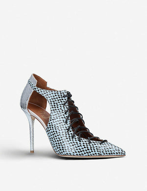Malone Souliers Montana 100 Snakeskin Pumps