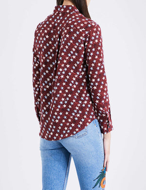 Sandro Star Print Silk Shirt