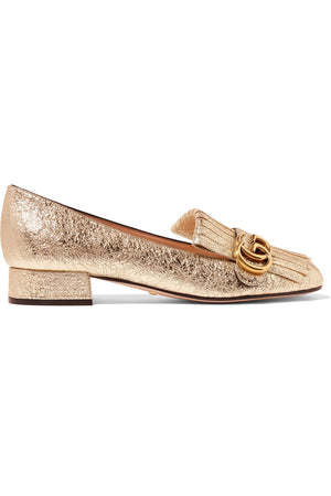 Gucci Marmont Fringed Metallic Cracked-Leather Loafers, Heels, Gucci, Closet Upgrade - Closet-Upgrade