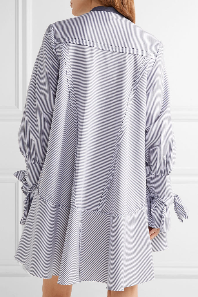 Roksanda 'Hecla' Ruffle-Trimmed Striped Cotton-Poplin Dress