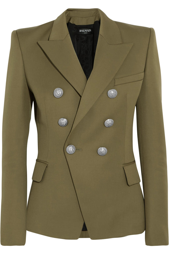 Balmain Signature Double-Breasted Pure Wool Blazer