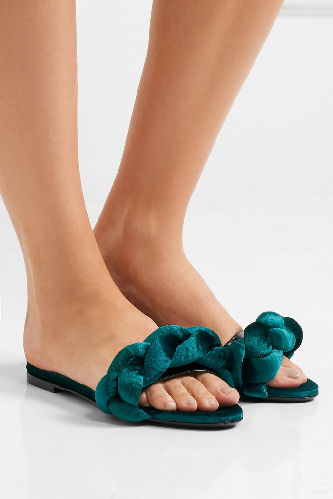Marco De Vincenzo Braided Velvet Slide Sandals