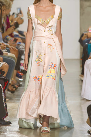Peter Pilotto Embroidered Panelled Linen Maxi Dress