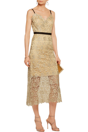 Catherine Deane 'Ivette' Metallic Guipure Lace Midi Dress