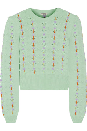 Miu Miu Pointelle-Trimmed Cashmere Sweater