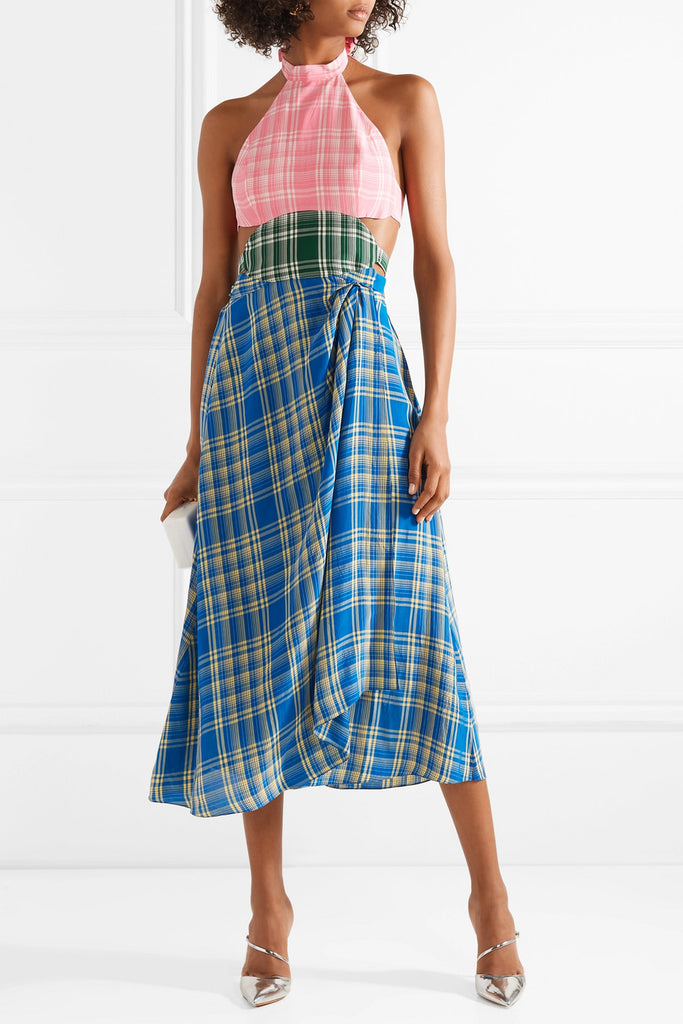 Rosie Assoulin Cutout Check Voile Midi Dress