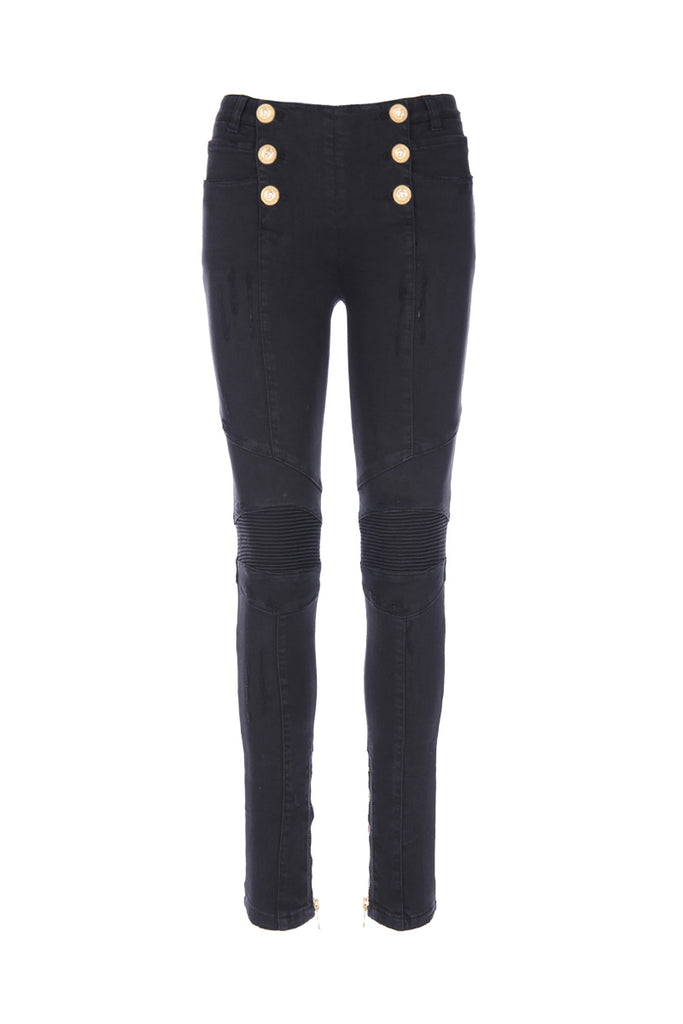 Balmain Button Placket Skinny Biker Jeans