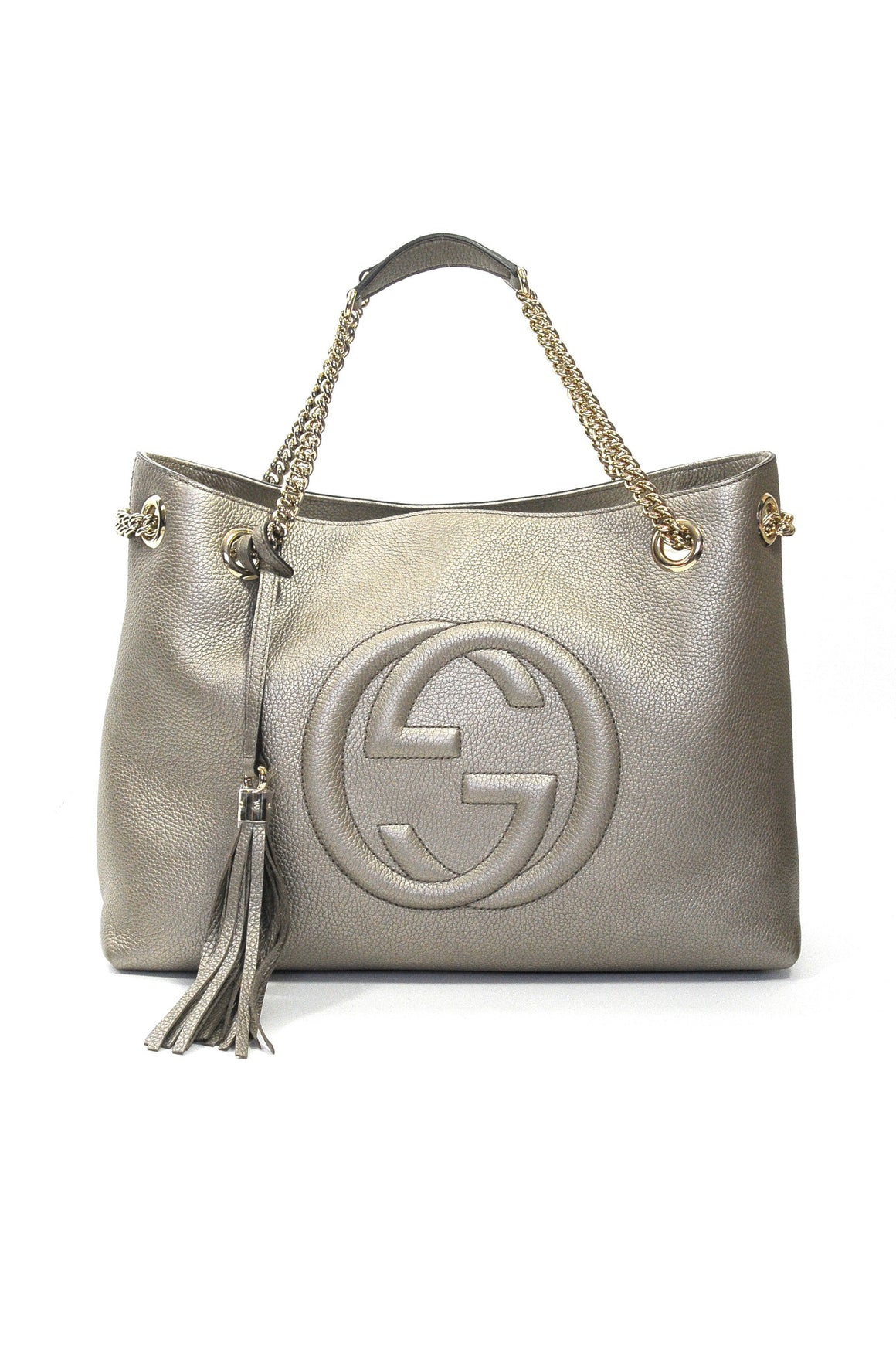 Gucci Soho Metallic Leather Shoulder Bag in Champagne, Women's Handbags, Gucci, Closet Upgrade - Closet-Upgrade