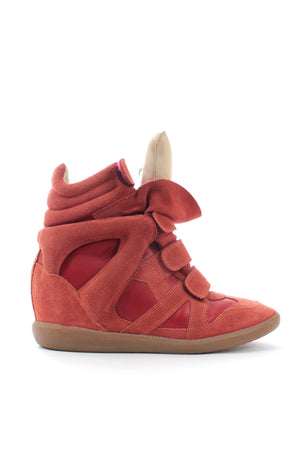 Isabel Marant Burt Suede and Leather Wedge Sneakers