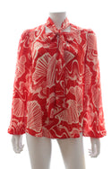 Rixo 'Moss' Shell Printed Silk Blouse
