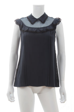Miu Miu Lace-Trimmed Ruffled Silk Sleeveless Blouse