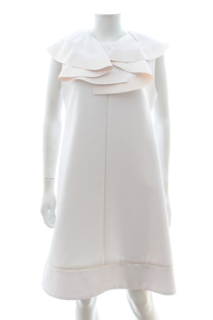 Chloé Ruffled Neck Cotton Shift Dress