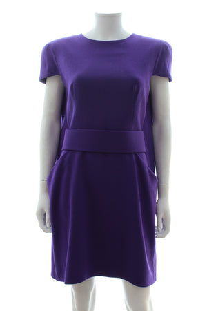 Alexander McQueen Cape-Back Wool-Crepe Belted Dress