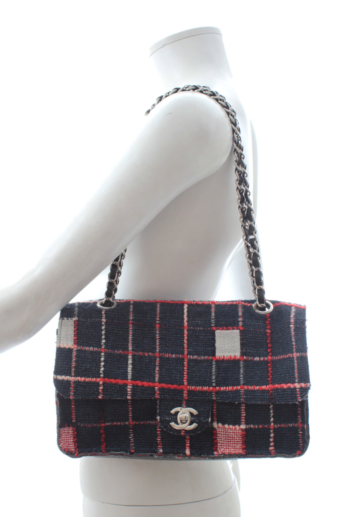 Chanel Limited Edition Woven Check and Leather Flap Bag (A66257)