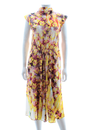 Prada Floral Printed Silk Midi Dress