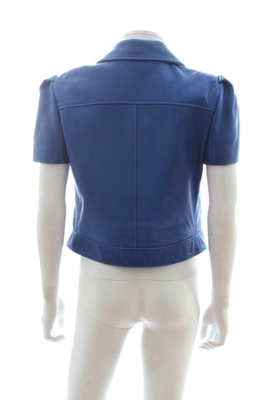 Mulberry Bow-Detailed Short Sleeve Leather Jacket