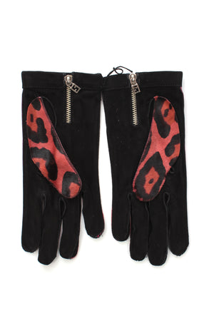 Fendi Leopard Print Calf Hair and Suede Gloves