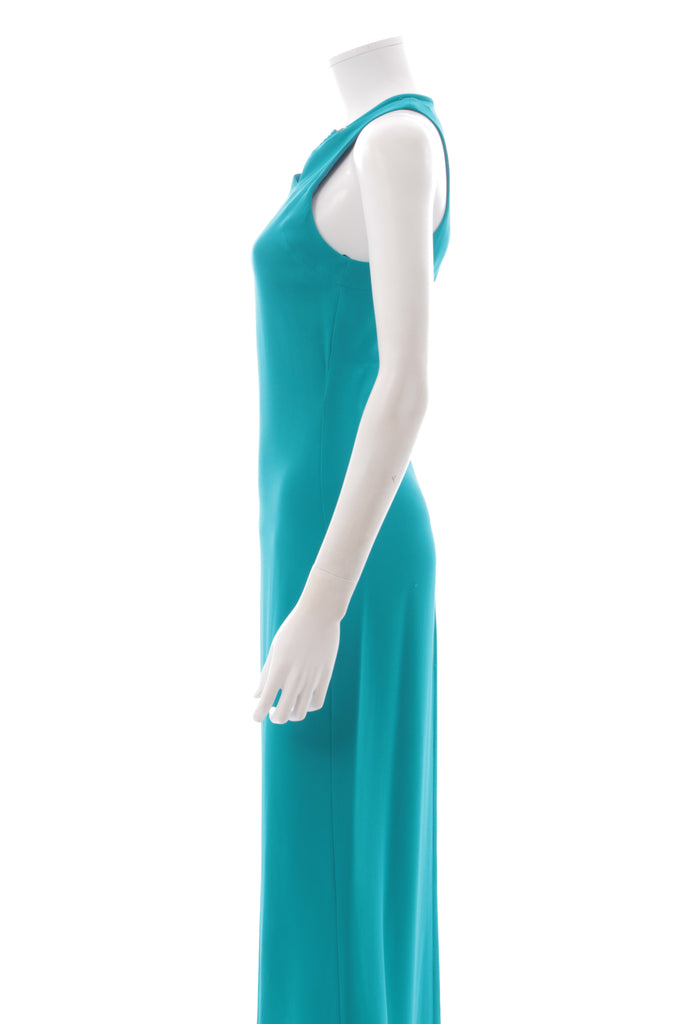 Roberto Cavalli Cut-Out Neck Sleeveless Stretch-Crepe Gown