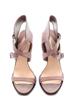 Nicholas Kirkwood Snakeskin Sandals with Side Buckles