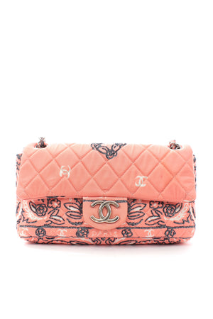 Chanel Camellia and Logo Printed Quilted Timeless Flap Bag