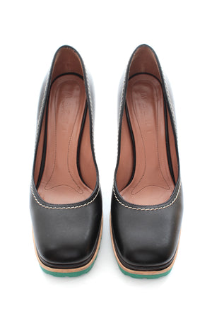 Marni Stitch Contrast Leather Platform Pumps