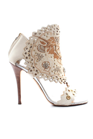 Giuseppe Zanotti Embellished Laser Cut Leather Sandals