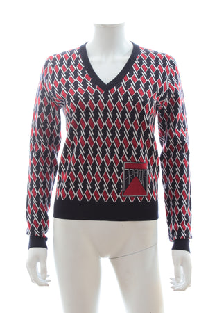 Prada Graphic Print Wool Sweater