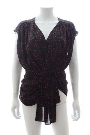 Magda Butrym Durres Polka Dot Silk Draped Blouse
