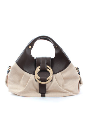 Bvlgari Chandra Leather and Chevron Canvas Bag