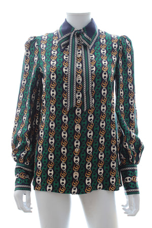Gucci Neck-Tie GG Chain Print Silk Blouse