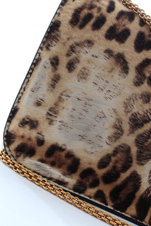 Valentino Glam Lock Leopard Calf Fur Bag