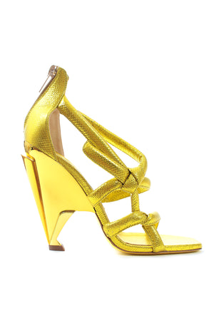 Jimmy Choo Knotted Embossed Metallic Leather Sandals